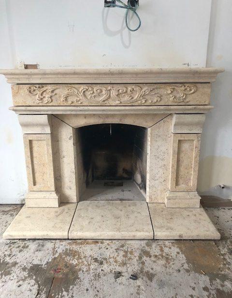 very intricate multi stone fireplace